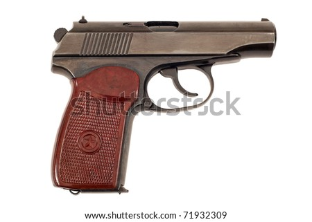 Russian 9mm handgun on white background - stock photo