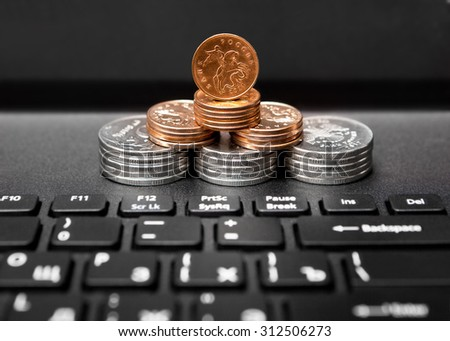 Russian money for notebook background - stock photo