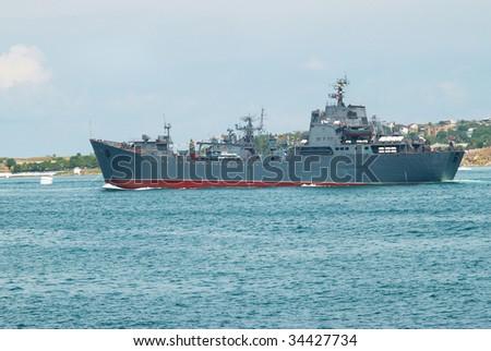 Russian navy warship in the Black sea bay - stock photo