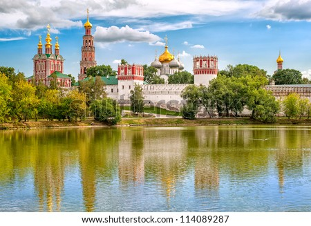 Russian orthodox churches in Novodevichy Convent monastery, Moscow, Russia, UNESCO world heritage site - stock photo