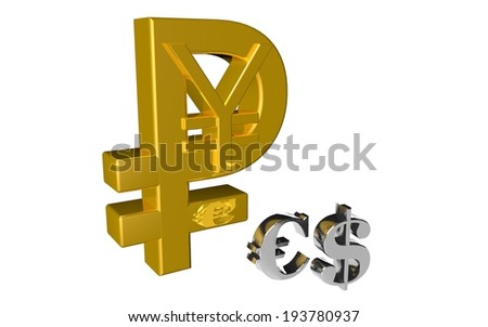 Russian Ruble Chinese Yuan symbol the country and the money new currency financial gold vs euro and dollar - stock photo