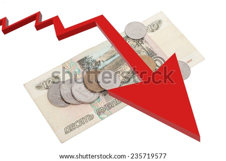 Russian rubles banknotes and coins over white - stock photo