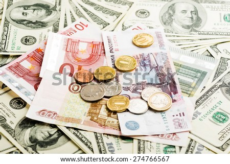 russian rubles, euro and dollars notes  - stock photo