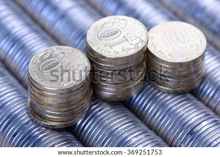 Russian rubles stack of metal silver coins background - stock photo