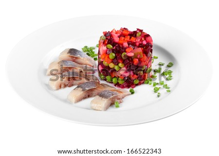 Russian salad isolated on white background - stock photo