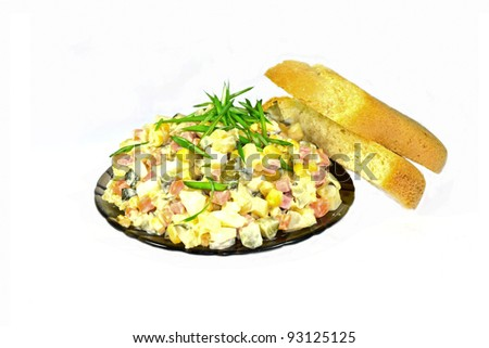 russian salad olivie with bread isolated on white background - stock photo