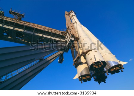 Russian space ship Vostok on its launch pad - stock photo