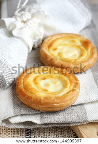 Russian sweet cheese danish, selected focus - stock photo
