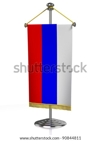 Russian table flag isolated on white - stock photo