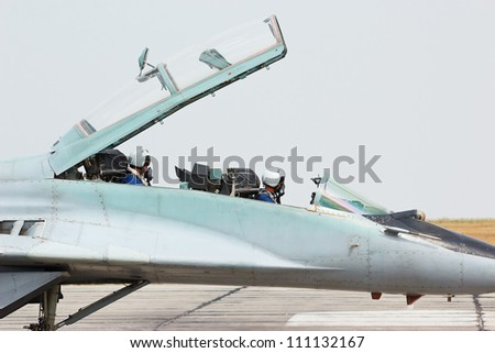Russian tactical military air jet fighter MIG-29 cockpit - stock photo