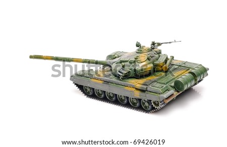 Russian tank isolated on white - stock photo