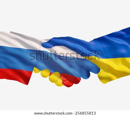 Russian Ukrainian handshake on a white  background. - stock photo