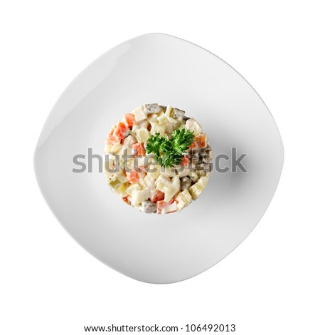 Russian vegetable salads with mayonnaise (white background) - stock photo