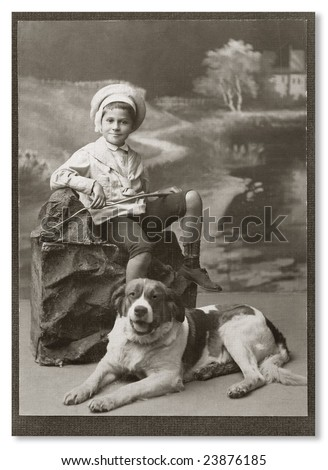 Russian vintage portrait, beginning of XX century. - stock photo