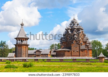 Russian wooden Church of the Intercession. Saint-Petersburg, Russia - stock photo