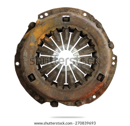Rust cover clutch plate isolated on white - stock photo