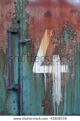 rust of the wagon wall & 4 - stock photo