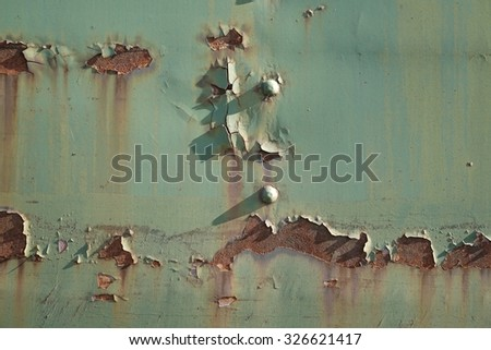 rust on an old railway wagon in the harbor of of magdeburg - stock photo