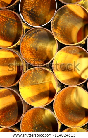 Rust steel pipes. - stock photo