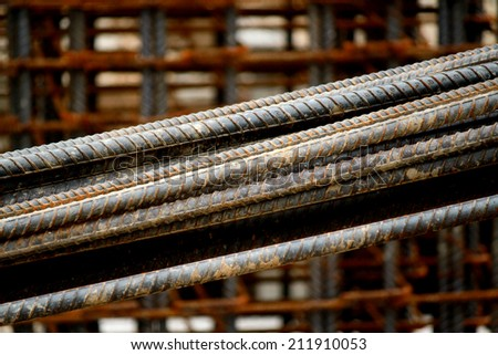 Rust steel rods for construction - stock photo