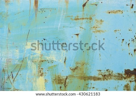 Rusted blue painted metal wall as background - stock photo