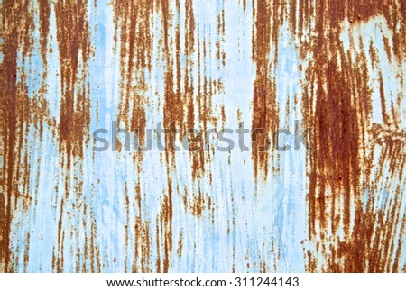 Rusted blue painted scratch metal wall background. Grunge texture surface metal sheet. Vintage and retro wallpaper. Close up. - stock photo
