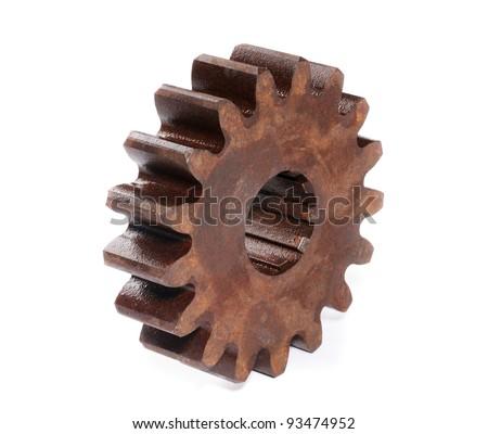 Rusted cog-wheel isolated on white background. - stock photo