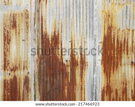 Rusted, galvanized, corrugated iron siding, vintage background - stock photo
