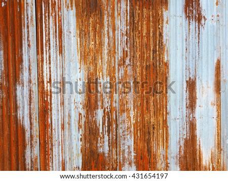 Rusted galvanized iron plate - stock photo