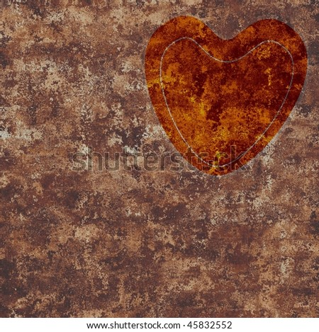rusted heart background - stock photo