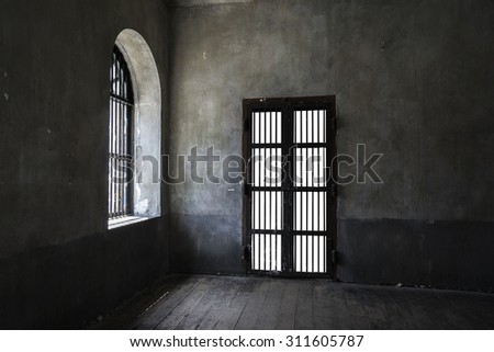 Rusted iron bars door on old wall, main light from left side, vintage style add vignette. - stock photo