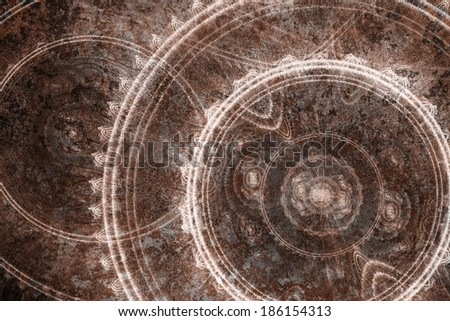 Rusted steam punk background - stock photo