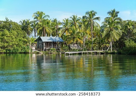 Rustic Amerindian hut with dock on tropical shore with coconut trees, Bocas del Toro, Panama, Caribbean, Central America - stock photo