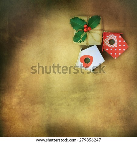 Rustic background with christmas gift - stock photo
