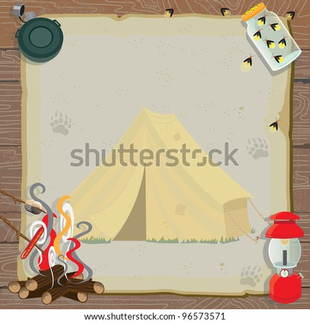 Rustic camping party invitation with an old fashioned tent, lantern, canteen, jar of fireflies and a roaring fire for roasting marshmallows and hotdogs all on old vintage paper - stock photo