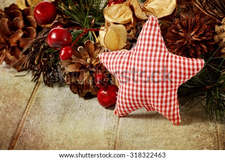 Rustic Christmas background - stock photo