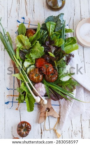 Rustic Composition of Farm fresh vegetables of garden. Healthy, vegetarian and garden food concept. Top view.  - stock photo