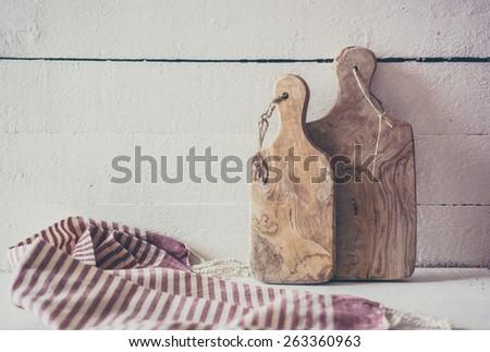 Rustic cutting boards - stock photo