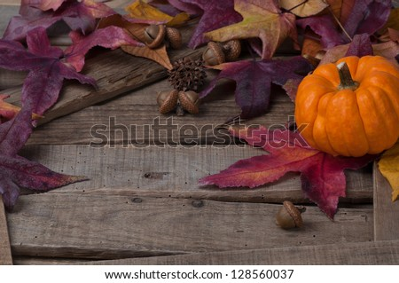 Rustic Fall Setting with a Pumpkin, Leaves, Acorns and Seedpods on Rustic Wood with copyspace - stock photo