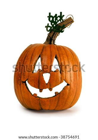 Rustic Halloween Pumpkin with Trick Or Treat Decoration - stock photo