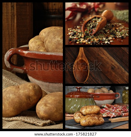 Rustic kitchen collage includes images of potatoes in a stoneware bowl being prepared for cooking, a measuring scoop filled with herbs and spices, and a vintage wooden spoon. - stock photo