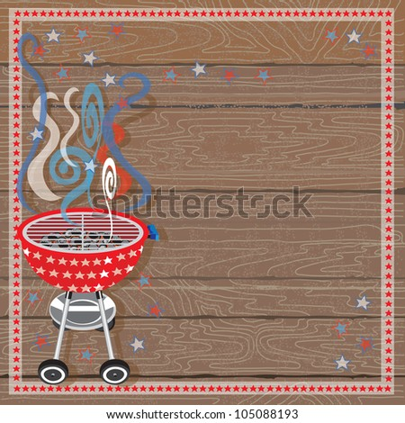 Rustic Patriotic or 4th of July BBQ Party Invitation with Red, White and Blue smoke and red barbecue grill with white stars on a wood plank background. - stock photo