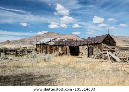 Rustic remains of an abandoned ranch in Nevada's Great Basin region. - stock photo