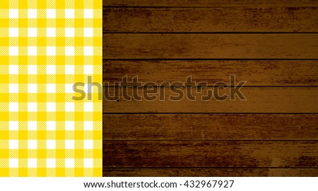 Rustic retro background with old brown wooden planks and orange white tablecloth - stock photo