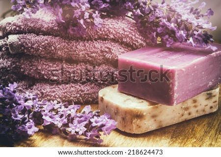 Rustic setting with natural soap - stock photo