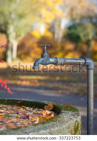 Rustic steel faucet over a stone water reservoir with leaves on the water surface in autumn - stock photo