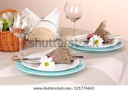 Rustic table setting - stock photo