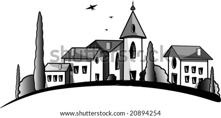 Rustic Village on a Hill - stock photo