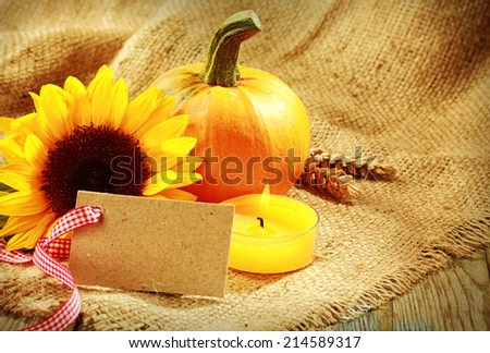 Rustic warm toned Thanksgiving background with a blank card tied with a decorative red and white ribbon arranged with a fresh sunflower and pumpkin alongside a burning candle on rustic burlap fabric - stock photo