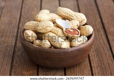 Rustic wood bowl of peanuts in shells. In perspective. - stock photo
